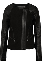 Line Clifton Wool Leather And Textured Knit Jacket Black