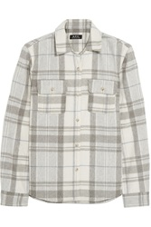 Plaid Wool Blend Flannel Shirt Light Gray