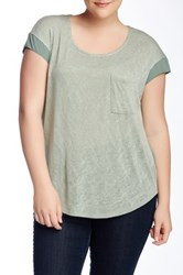 Gibson Scoop Neck Cap Sleeve Mixed Media Pullover Plus Size Green