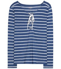 81 Hours Lavender Striped Linen Blend Top Blue