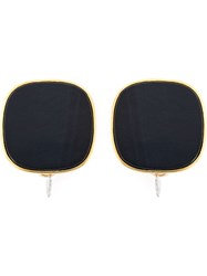 Wouters And Hendrix 'Playfully Precious' Blue Tiger Eye Clip On Earrings Metallic