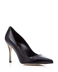 Sergio Rossi Godiva Lizard Embossed Pointed Toe Pumps Black