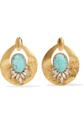 Elizabeth Cole Gold Tone Stone And Crystal Earrings Turquoise
