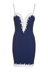 Topshop Floral Lace Trim Plunge Dress By Rare Navy Blue