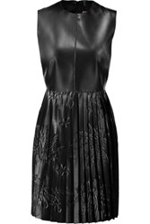 Msgm Pleated Faux Leather Mini Dress Black