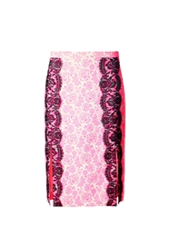 Christopher Kane Lace Trimmed Floral Print Skirt
