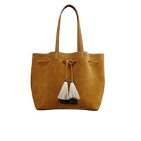 Loeffler Randall Women's Suede Drawstring Tote Bag Sienna Natural Black