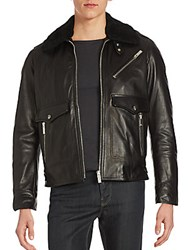 The Kooples Faux Fur Trimmed Leather Jacket Black