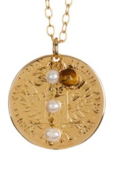 Savvy Cie Italian 18Th Century Tollero 5 6Mm Genuine Cultured Pearl And Tiger Eye Coin Pendant Necklace Metallic