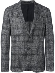 Z Zegna Plaid Single Breasted Blazer Grey