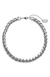 Women's Karine Sultan Braided Link Collar Necklace Silver