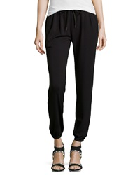 Joie Solan Leather Trimmed Jersey Sweatpants Caviar