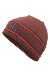 The North Face Men's Wool Blend Beanie Red Sequoia Red Asphalt Grey