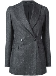 Tagliatore Fitted Tweed Blazer Grey