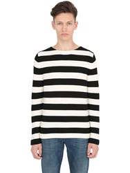 Gucci Embroidered Back Striped Cotton Sweater