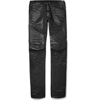 Balmain Slim Fit Leather Panelled Coated Denim Biker Jeans Black