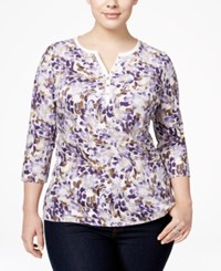 Karen Scott Plus Size Printed Henley Top Only At Macy's Cassis