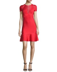 Herve Leger Short Sleeve Chevron Illusion Bandage Dress Red