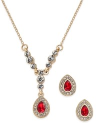 Charter Club Gold Tone Red Stone Teardrop Pendant Necklace And Earrings Set Only At Macy's