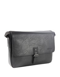 Kenneth Cole Reaction Pu Single Gusset Flapover 15 In. Computer Messenger Bag Black