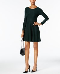 Jessica Howard Petite Princess Seam Flared Sweater Dress Green