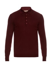Bottega Veneta Long Sleeved Merino Wool Polo Shirt Burgundy Multi
