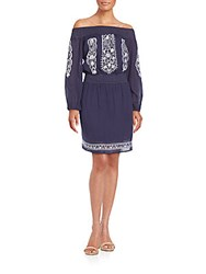 Kas Tyler Embroidered Off The Shoulder Dress Navy