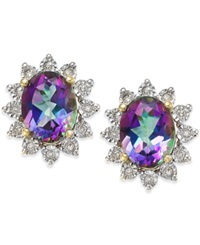 Macy's Mystic Topaz 4 1 2 Ct. T.W. And Diamond Accent Earrings In 14K Gold Purple