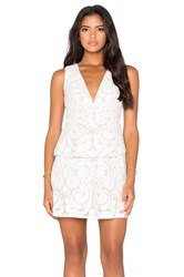 Bcbgmaxazria Plunge Neck Mini Dress Cream