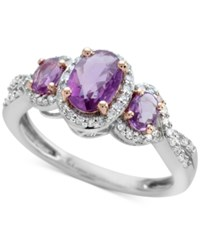 Macy's Purple Sapphire 3 4 Ct. T.W. And Diamond 1 4 Ct. T.W. 3 Stone Ring In 14K White Gold