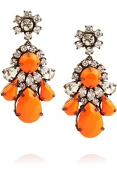 Shourouk Neon Gunmetal Tone Crystal Earrings