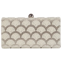 Chesca Embellished Pearl Clutch Bag Silver