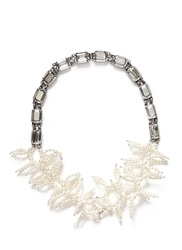 Miriam Haskell Crystal Chain Faux Pearl Coral Spiral Necklace White Metallic