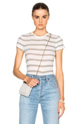 Atm Anthony Thomas Melillo Cap Sleeve Tee In Stripes Gray