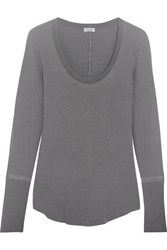 Splendid Nordic Waffle Knit Stretch Supima Cotton And Micro Modal Blend Top Dark Gray
