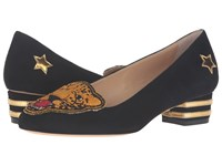 Charlotte Olympia Mascot Black Gold Women's Slip On Dress Shoes
