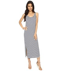 Culture Phit Freya Striped Dress With Back Detail Navy Ivory Women's Dress Blue
