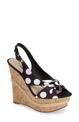 Guess 'Dellan' Knotted Slingback Sandal Women Black White Polka Dot