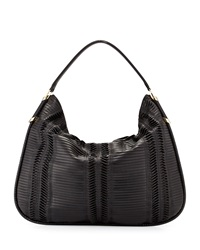 Jimmy Choo Zoe Large Pleated Hobo Bag Black