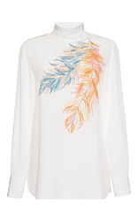 Emilio Pucci Turtleneck Silk Blouse White