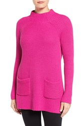 Chaus Women's Two Pocket Mock Neck Tunic Sweater Pink