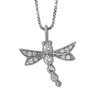 Jools By Jenny Brown Sterling Silver Pave Dragonfly Pendant Rhodium