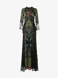 Etro Paisley Print Silk And Lace Gown Black Multi Coloured