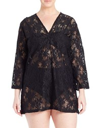 J Valdi Plus Daisy Lace Tunic Black
