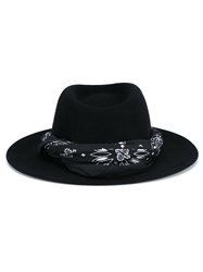 Maison Michel Felt Thadee Hat With Bandanna Black