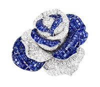 Sabbadini Rose Shaped Brooch Blue
