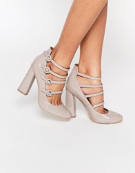 London Rebel Strappy Heeled Shoes Nude Patent Grey