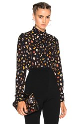 Alexander Mcqueen Obsess Scarf Blouse In Black Abstract Black Abstract