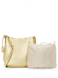 Badgley Mischka Fleur Leather Shoulder Bag Gold