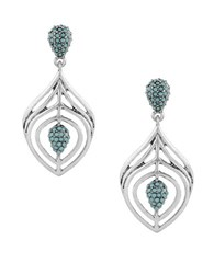 Lucky Brand Pave Peacock Silvertone Feather Statement Drop Earrings